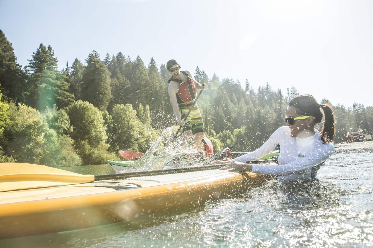 Stand-up paddling at Johnson's Beach, Guerneville, California.