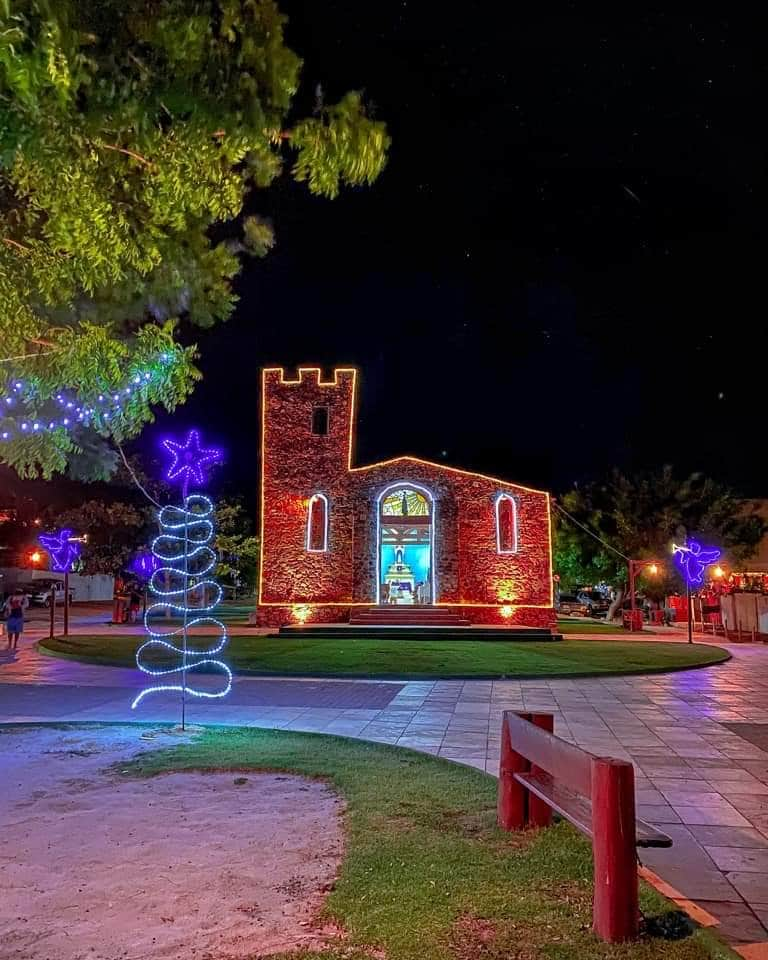 An ancient fishermen's chapel in Jeri, lit up around the holidays