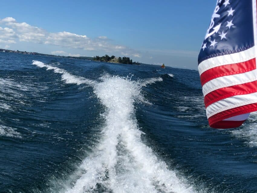 Motorboating on the St. Lawrence Seaway on the Miss Thousand Islands III..