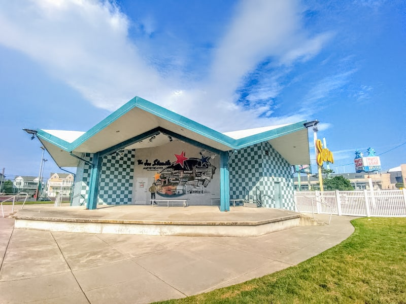 As evidenced in the bandshell at the Doo Wop Museum, the style architecture is ubiquitous in Wildwood.