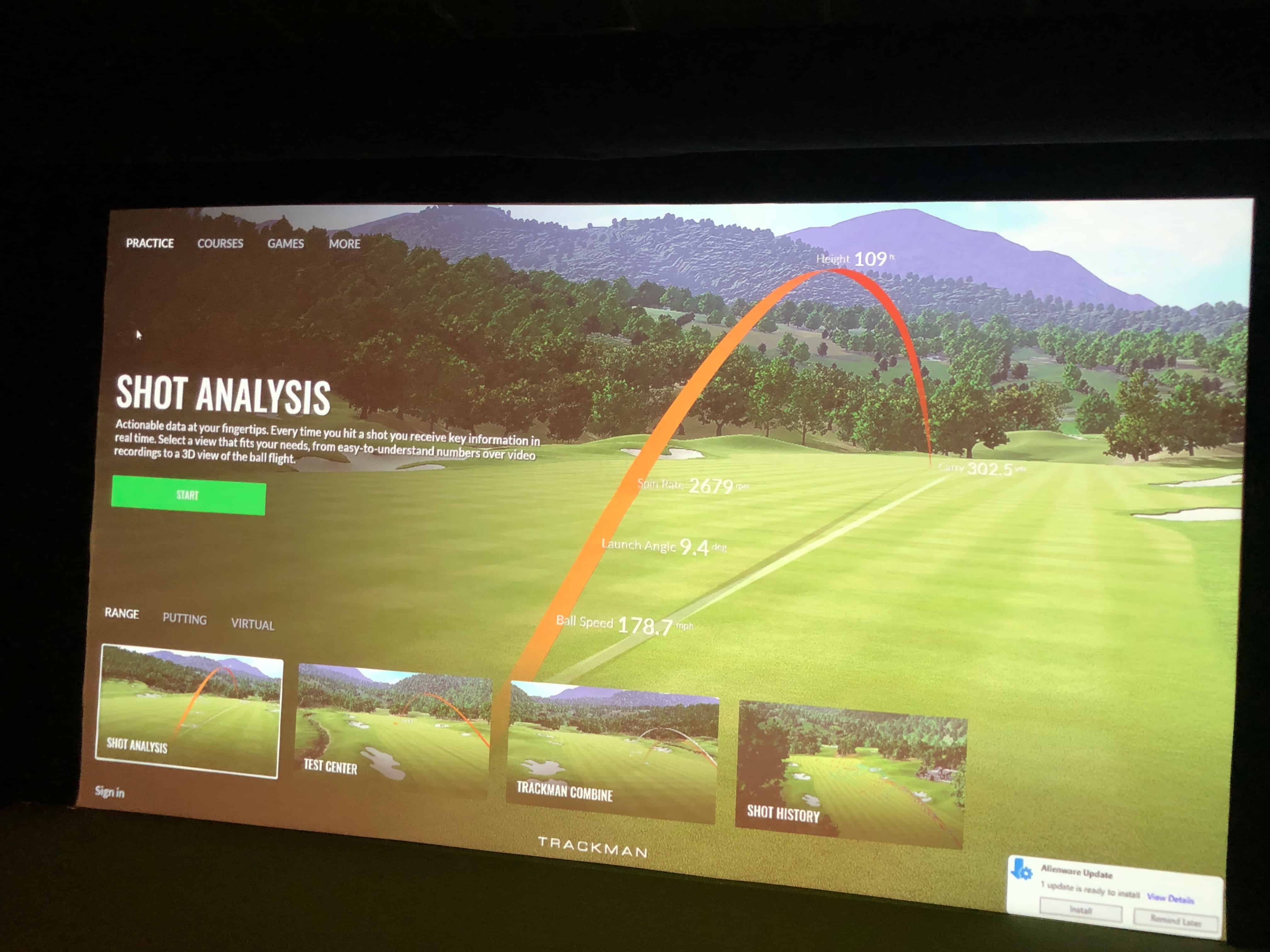At Newport Indoor Golf, you can sample hundreds of different virtual courses.