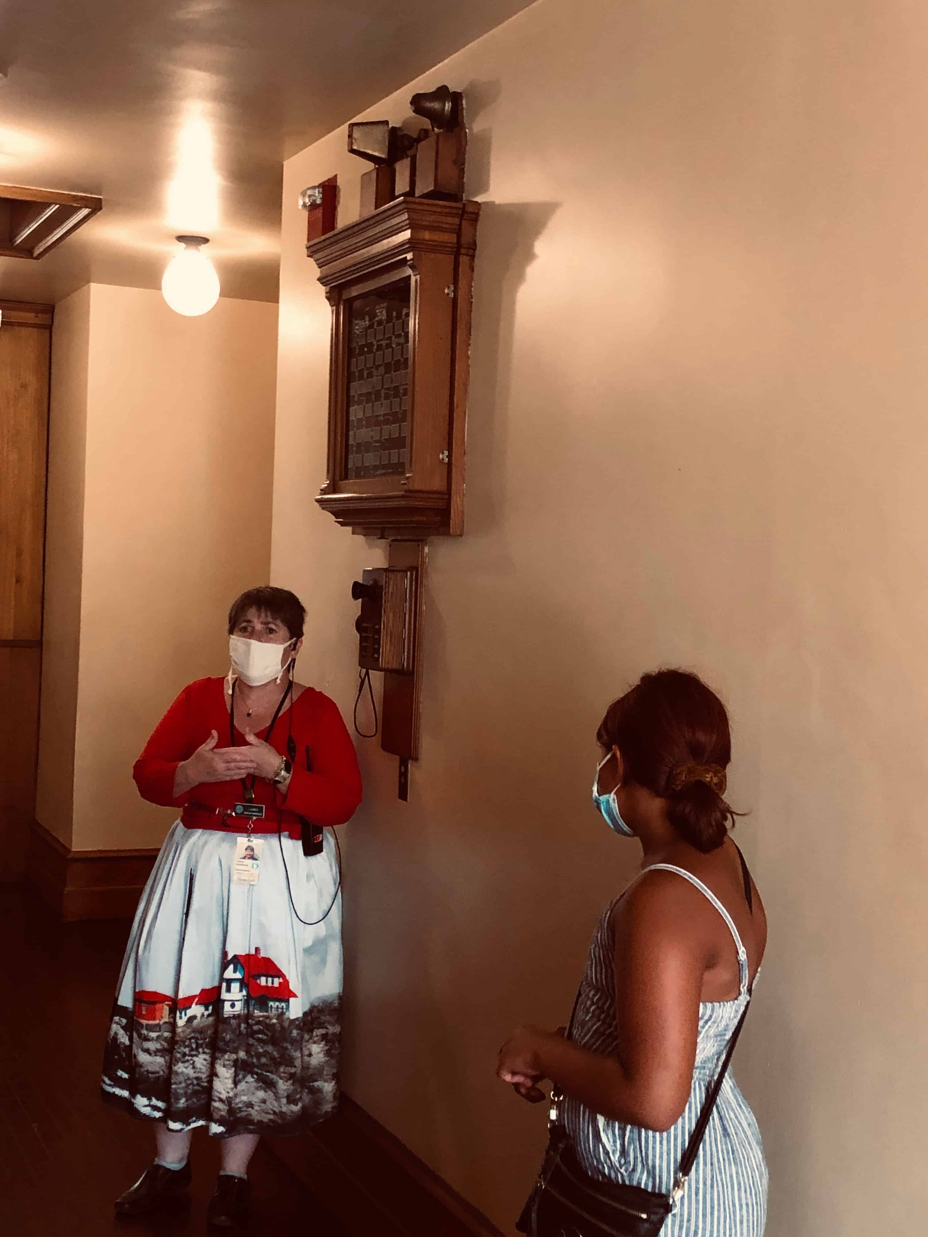 Learning how the servants lived at the Elms in Newport. Behind the docent is the device used to summon the help.