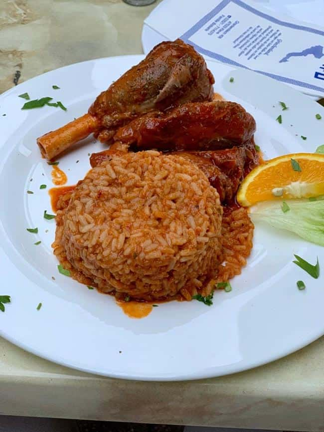 Dinner @Kranenburg. Stewed lamb with rice at a greek restaurant
