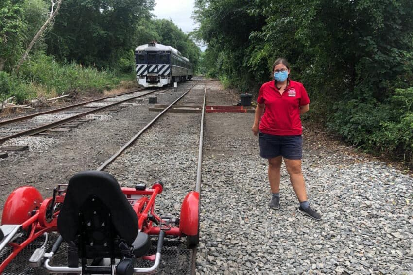 Rail Explorers uses two and four-passenger railroad 'bikes' that are pedaled along a railroad track.