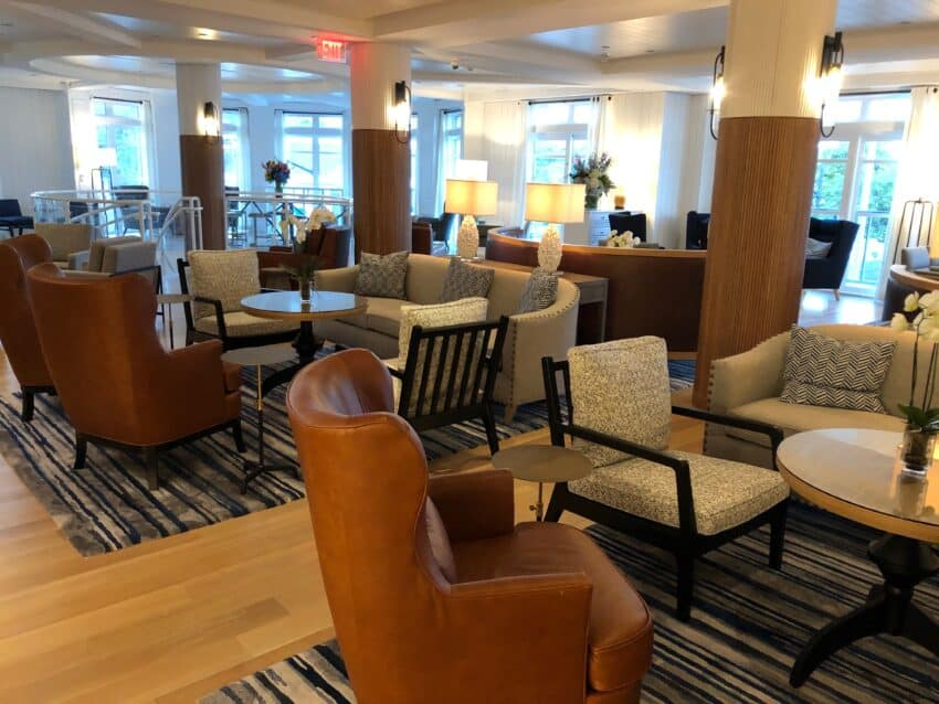The comfortable lobby of the Brenton Hotel in Newport, where you can have dinner.