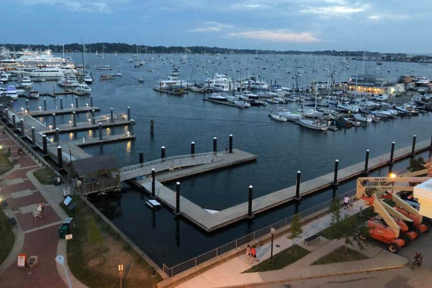 View of Newport Harbor from the rooftop deck of the Brenton Hotel. The hotel will dock its own fishing boat that is available for guests to charter right next to this dock.