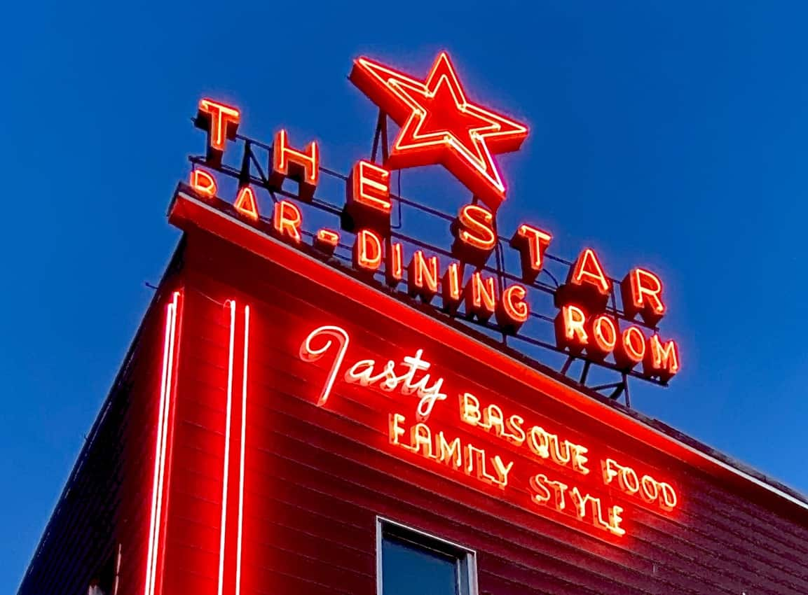 As night falls, neon stars beckon appetites to a traditional Basque eatery in Elko, Nevada.