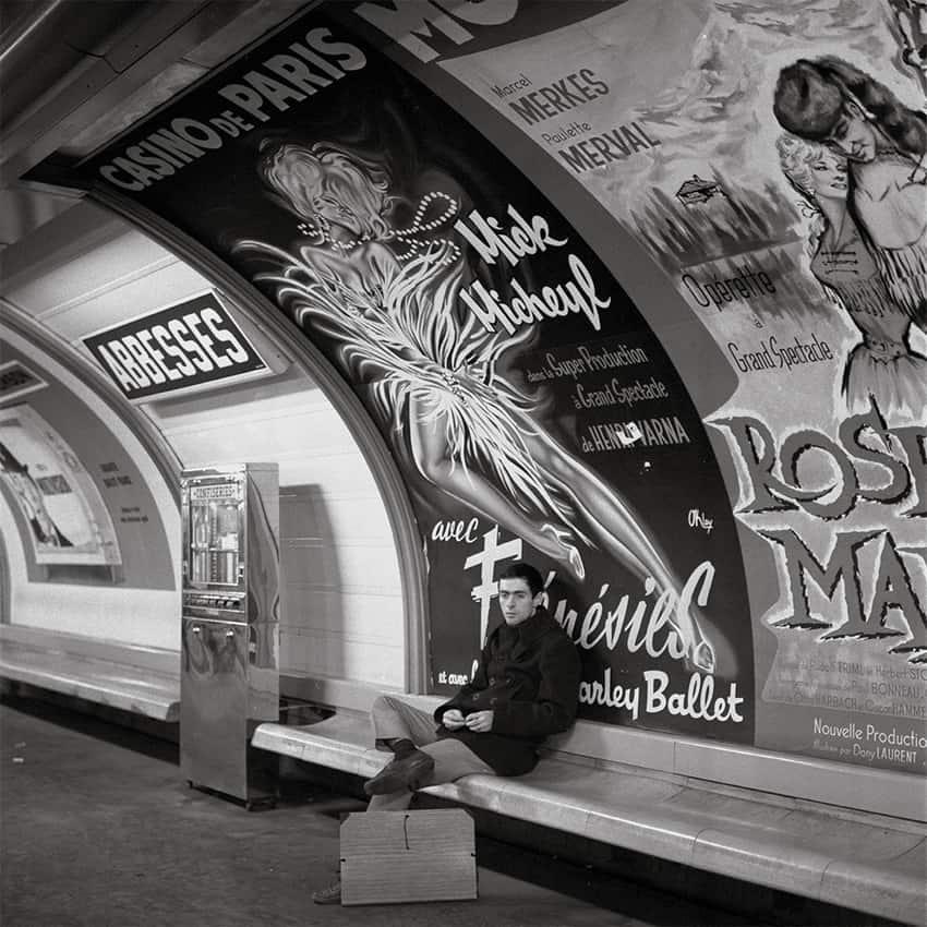 Passenger in the metro station Abbesses, circa 1965