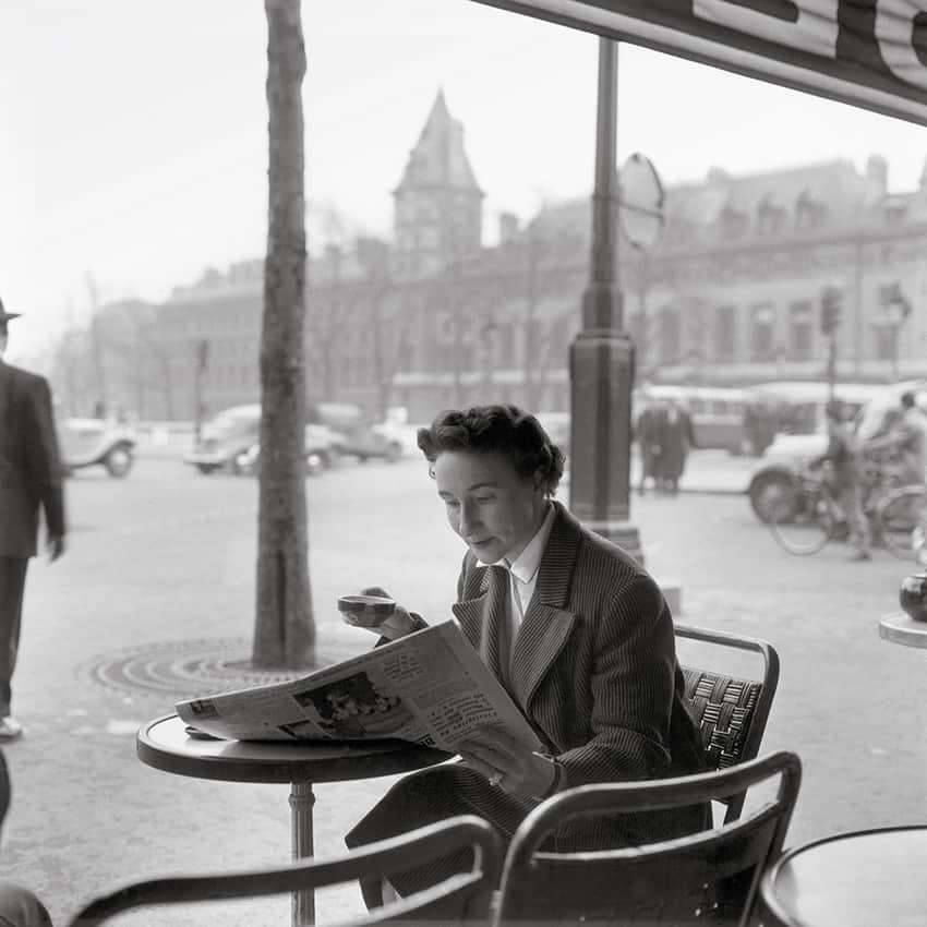 Woman in a street café, place Saint-Michel, circa 1956