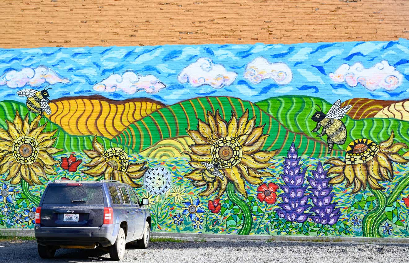 Colorful street art in the town of Colfax