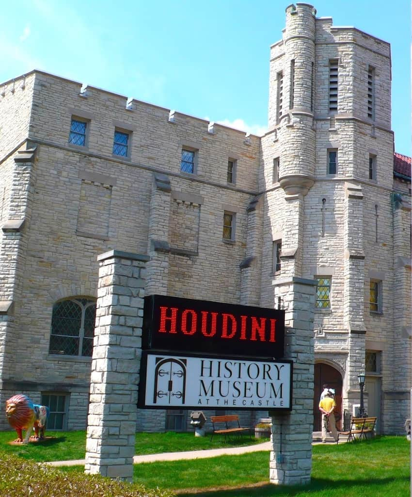 The History Museum at the Castle in Appleton, Wisconsin, features exhibits about magician Houdini.