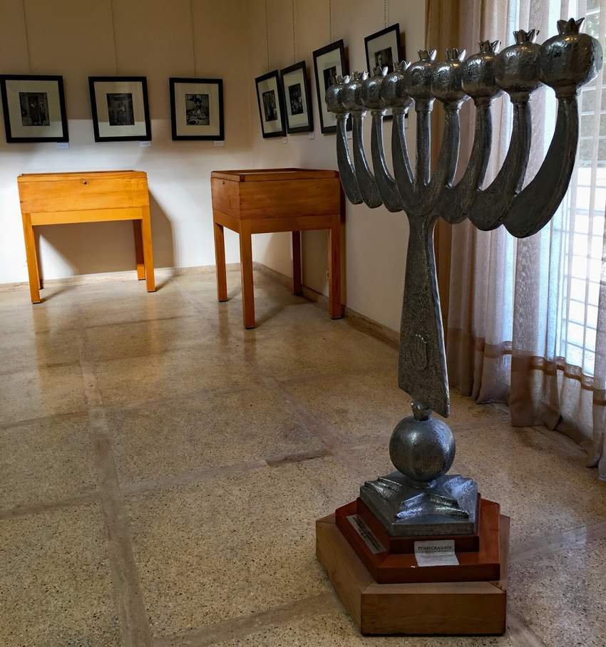 A large Hanukkah lamp, a 2012 gift from the American Sephardi Federation in New York, stands in an exhibit space inside the Museum of Moroccan Judaism in Casablanca Morocco.