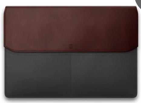 Front of Ekster Laptop Sleeve, burgundy and black