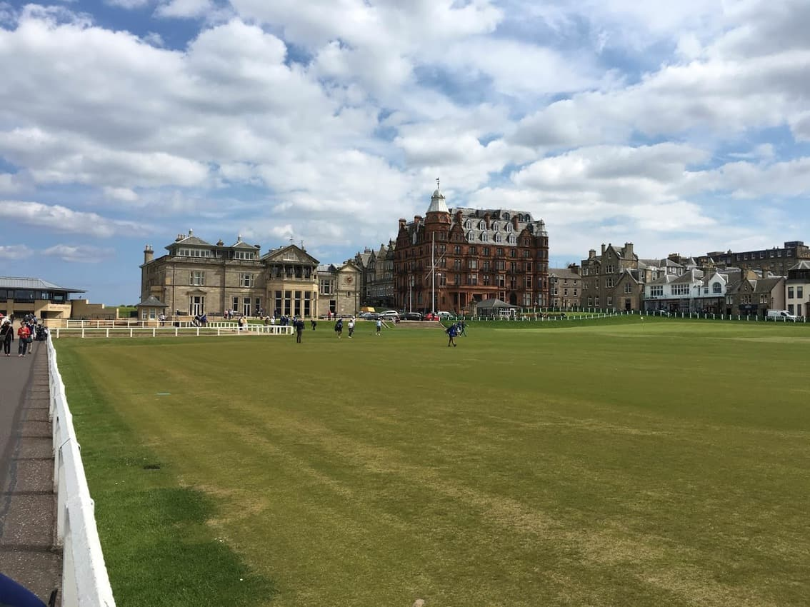 A look down the first fairway of the Old Course to the Royal and Ancient Clubhouse at St. Andrews.