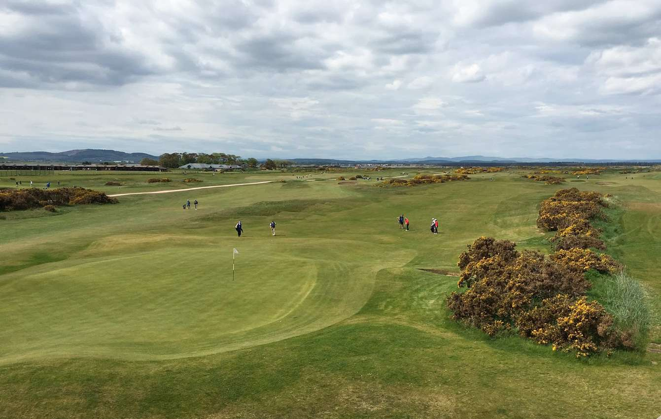 The New Course at the St. Andrews links from atop the clubhouse. It is one of the six courses that lay adjacent to each other. There is a course fall all skill levels.
