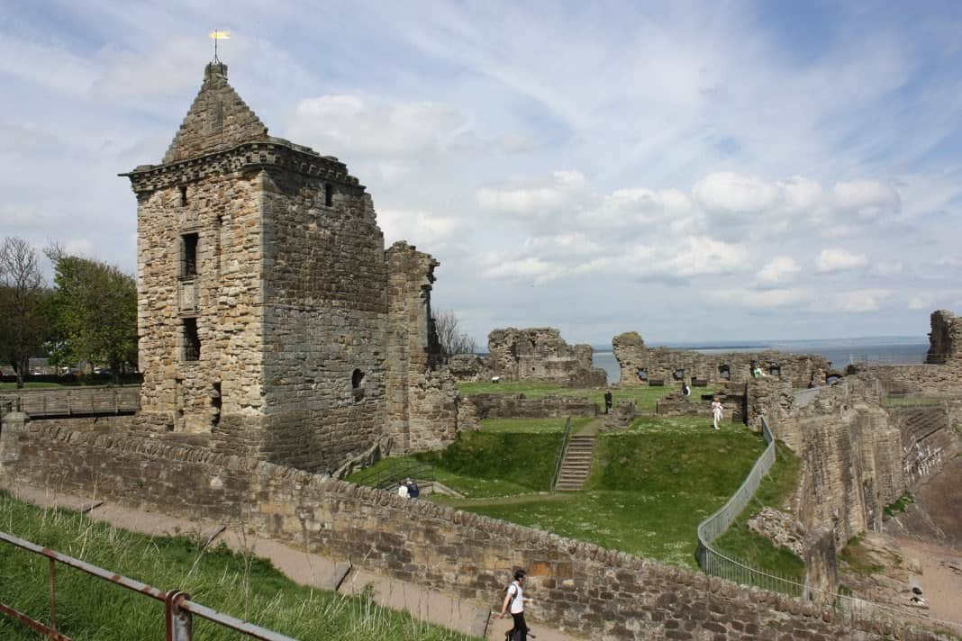 castle ruins in St Andrews Scotland.