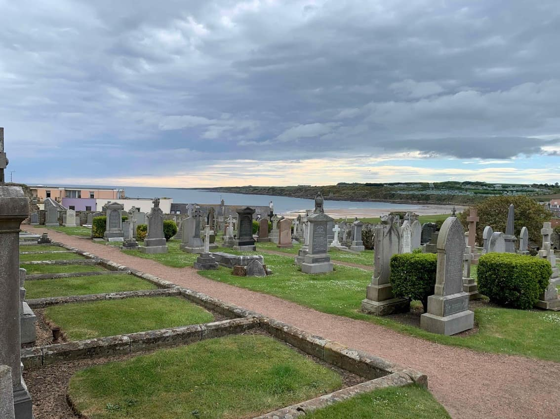 The cemetery at the St. Andrews Cathedral. The cathedral was built around 1158.