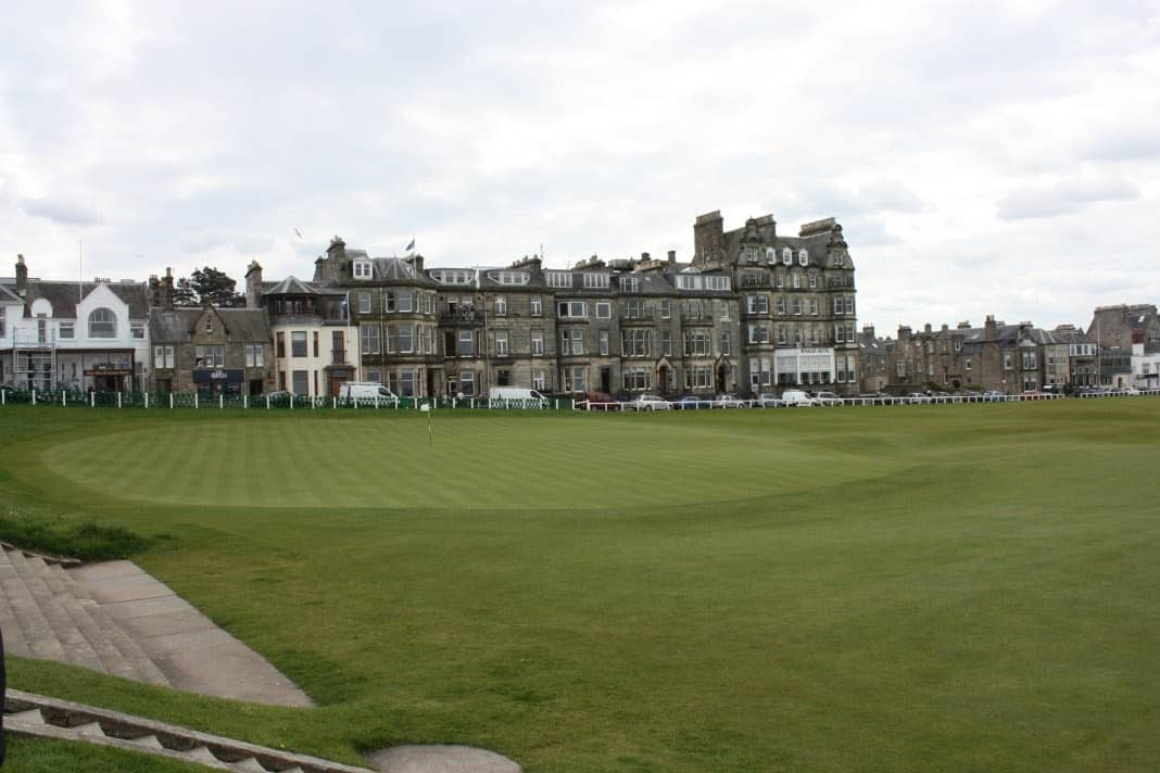 18th green of the Old Course, St. Andrews. In the background stand the Rusacks Hotel which opened in187.