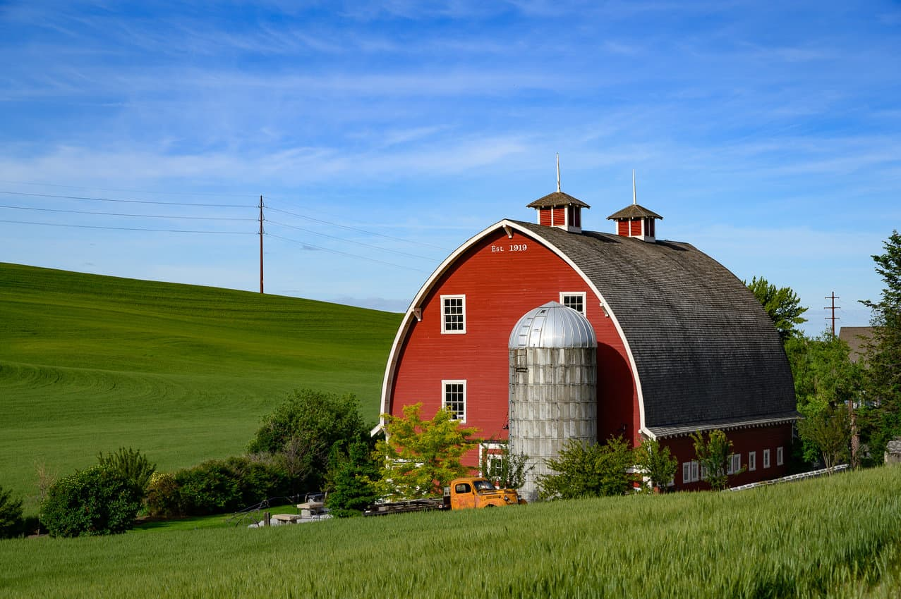 Built in 1910, the Heidenreich Dairy Barn has been repurposed into a wedding and event venue under the new name of Palouse Knot Barn.