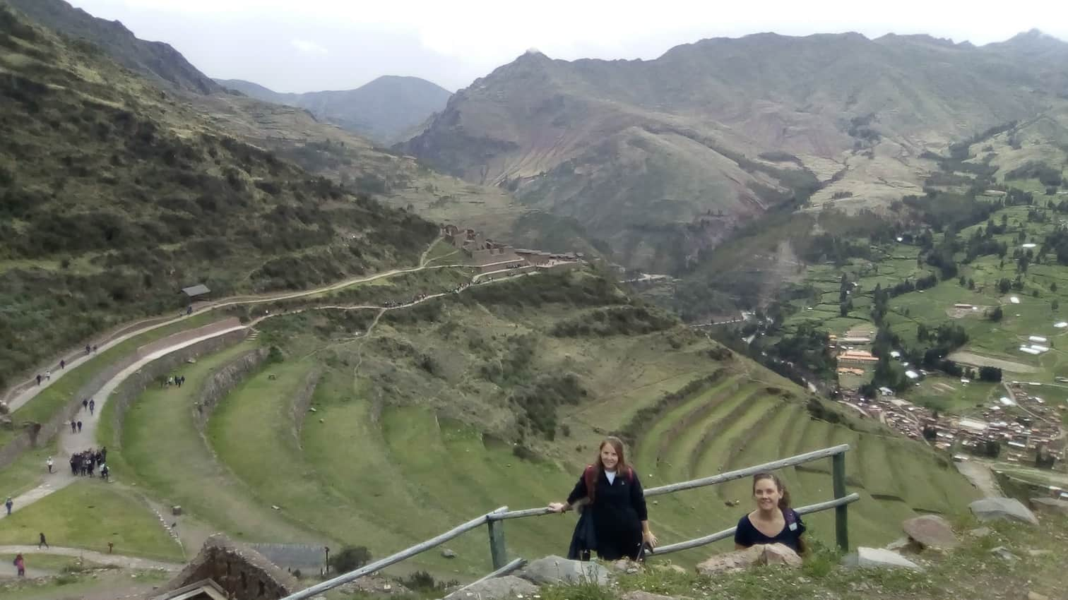 Walking down with my sister in law wasn't that hard as walking up in Pisac, Peru.