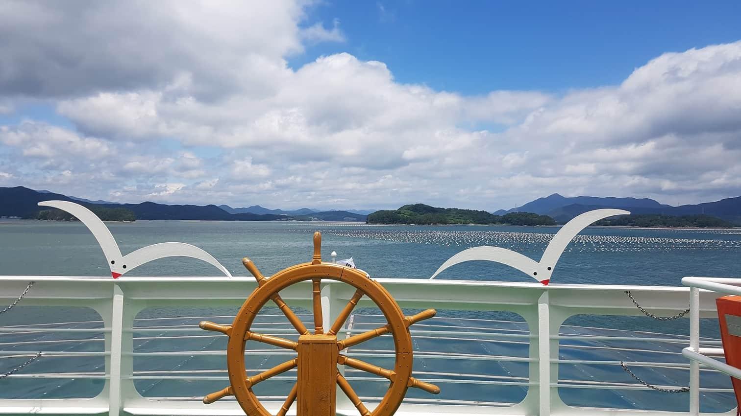 Aboard the ferryboat to Saryangdo Island, South Korea.