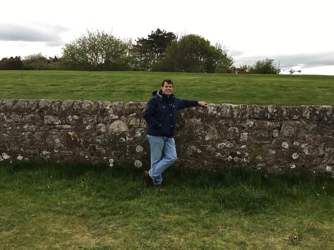 The old stone wall that runs along behind the 17th Hole at the Old Course at St. Andrews. It is affectionately knowns as The Road Hole.