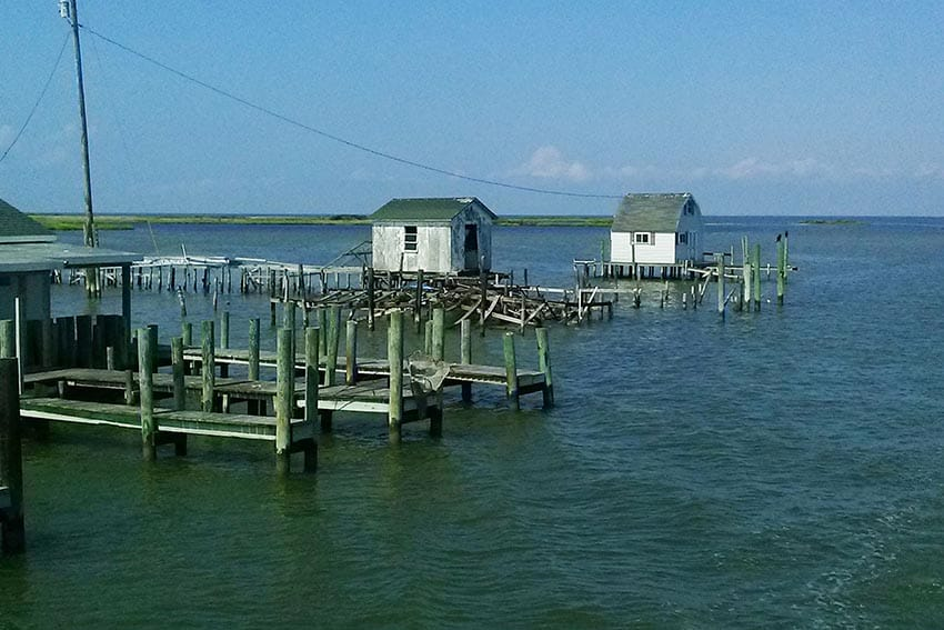 Waterman's shanty's looking northeast out of the main channel on Tangier Island