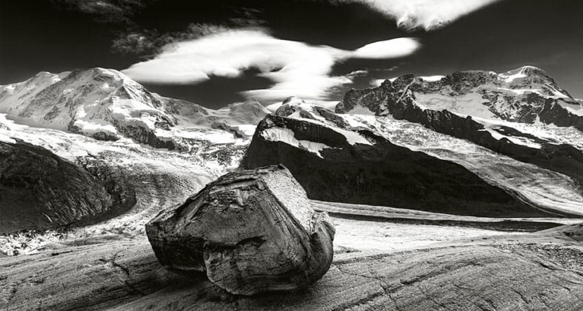 Mountains around Zermatt and Matterhorn. Glacier polished ledges above the meeting of the glaciers Gorner and Grenz.
