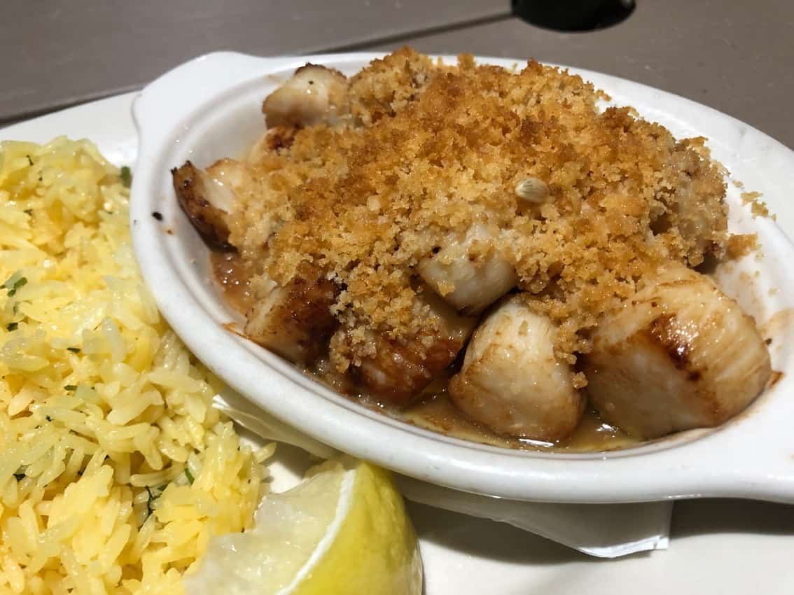Scallops from the Blue Lobster Grille, Rockport, Cape Ann Mass.