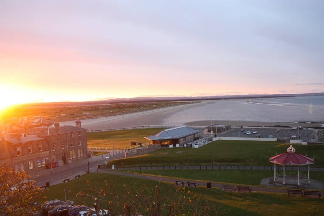 Sunset over the Royal and Ancient Clubhouse and the West Sands Beach.