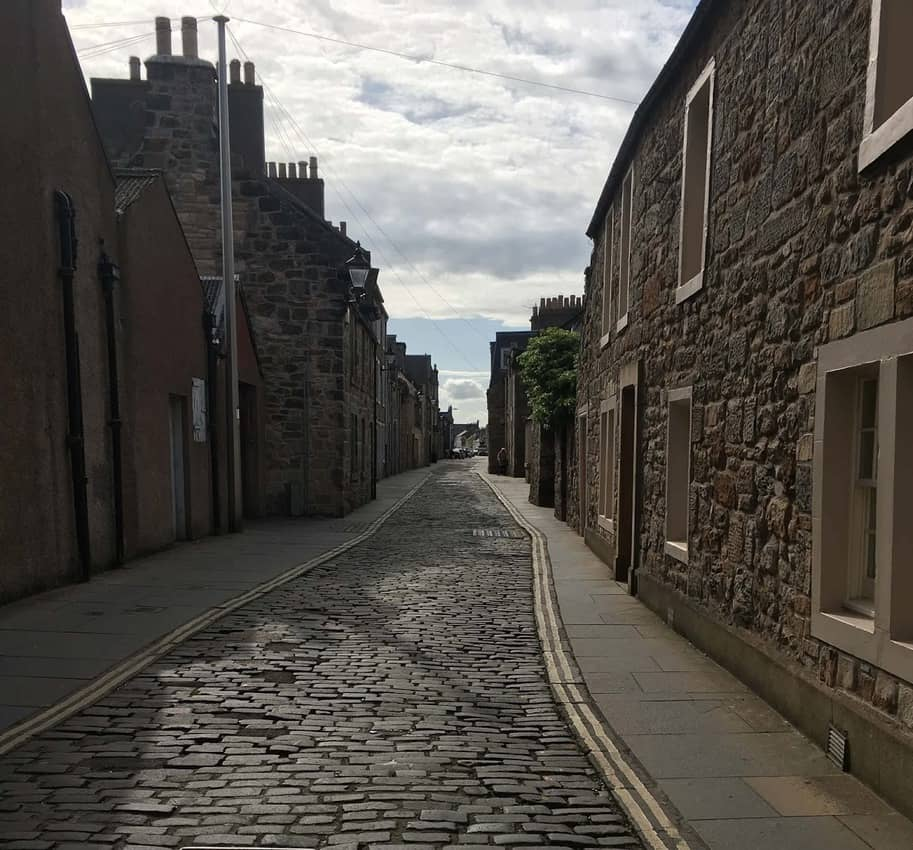 The quiet and peaceful end of Market Street in St. Andrews. The opposite end is filled with businesses and nightlife.