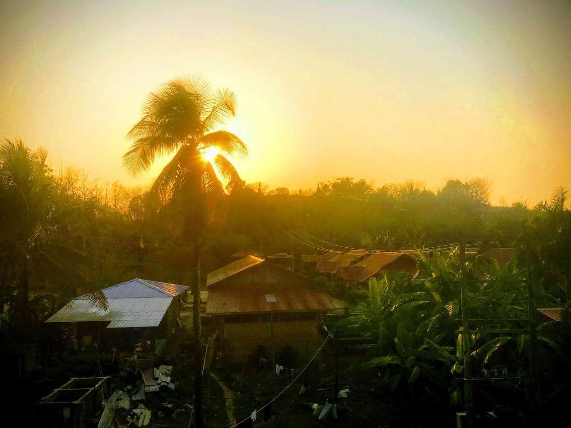 Sunset over Mrauk U Rakhine Myanmar from the hotel room