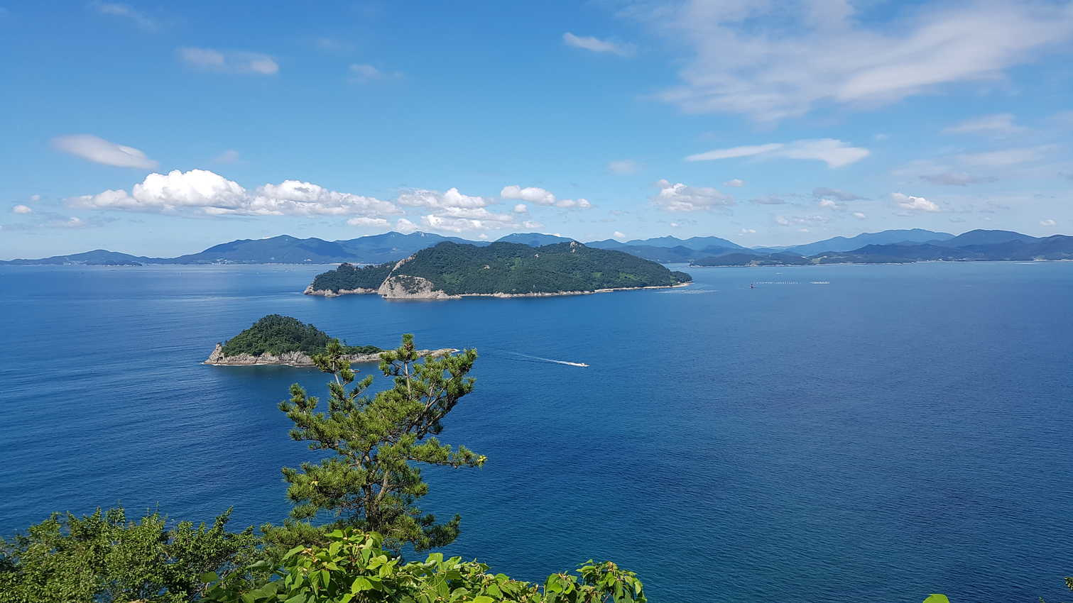 The theme of this hike? Surrounded by blue in Saryangdo, South Korea.