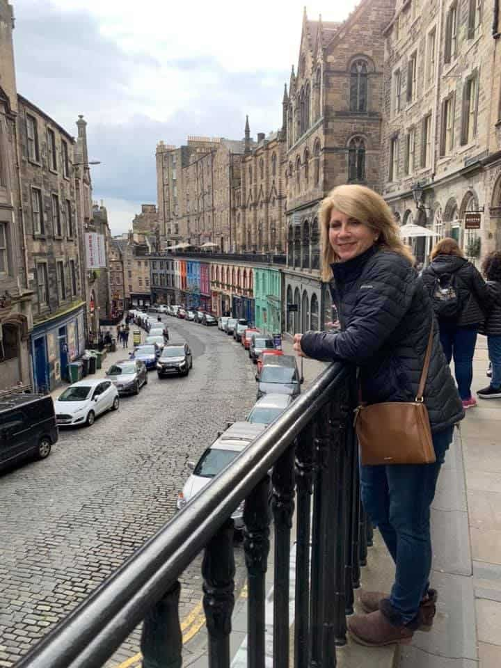 Looking up Victoria Street in Edinburgh. It is reported to be the inspiration for Diagon Alley in the Harry Potter series St. Andrews