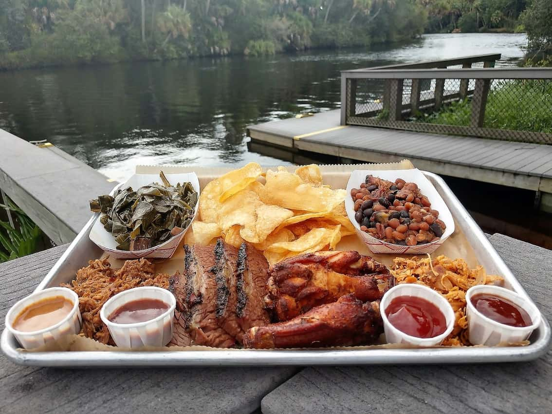 Snook Haven in Venice Florida offers barbecue in a bucolic waterfront setting. Anne Braly photos.