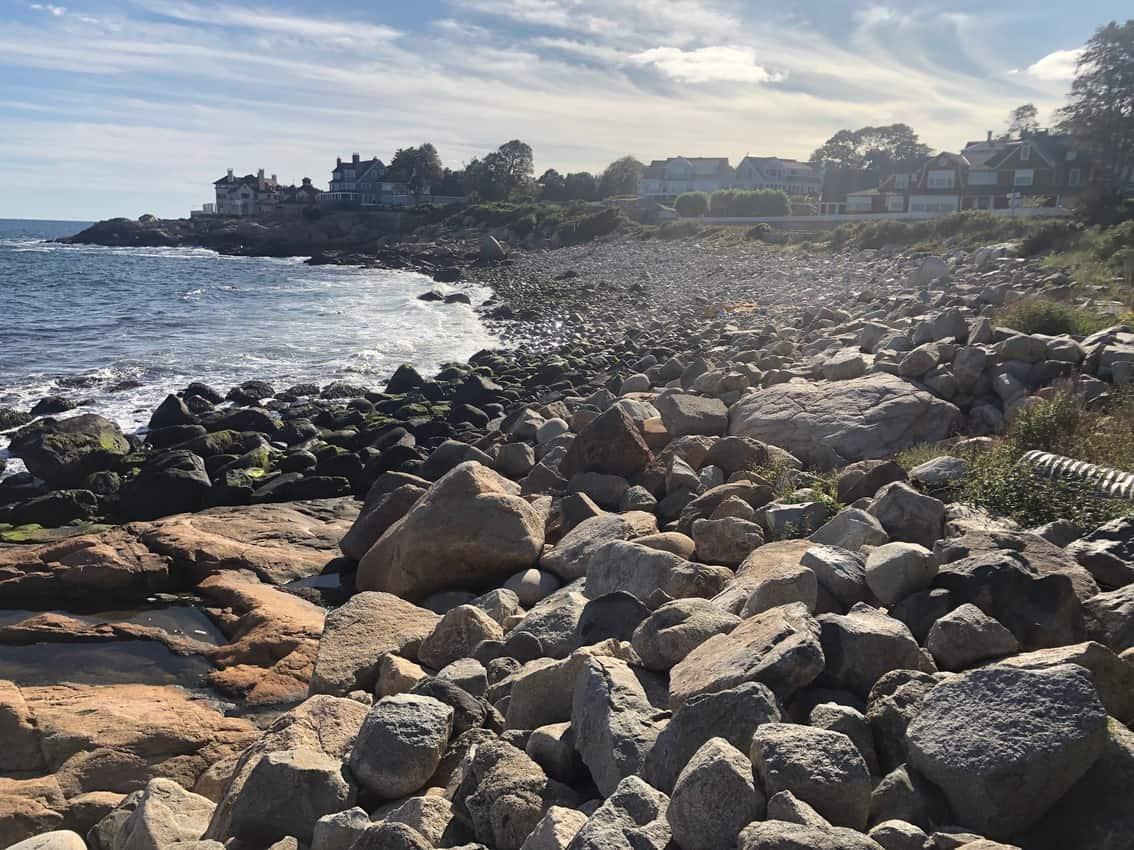 Gloucester rocky beach on Shore Road in Magnolia on Cape Ann