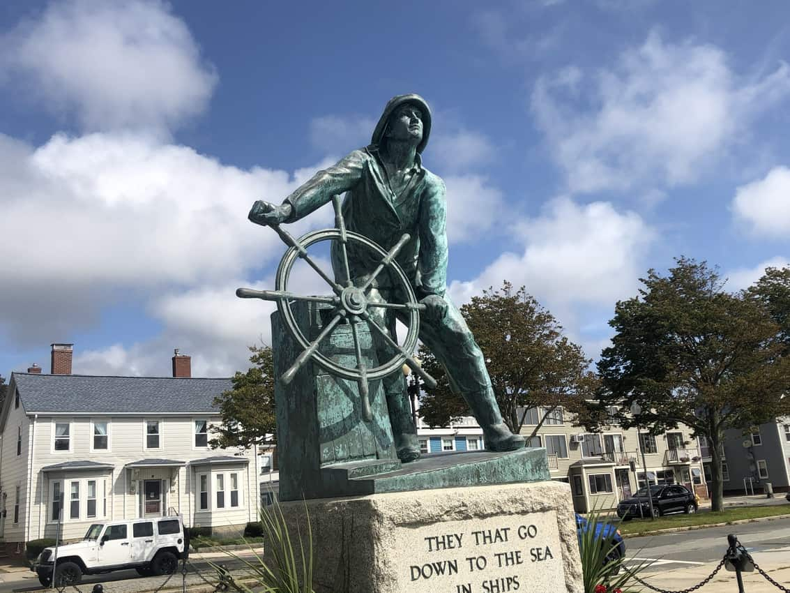 Man at the Wheel sculpture in Gloucester MA.