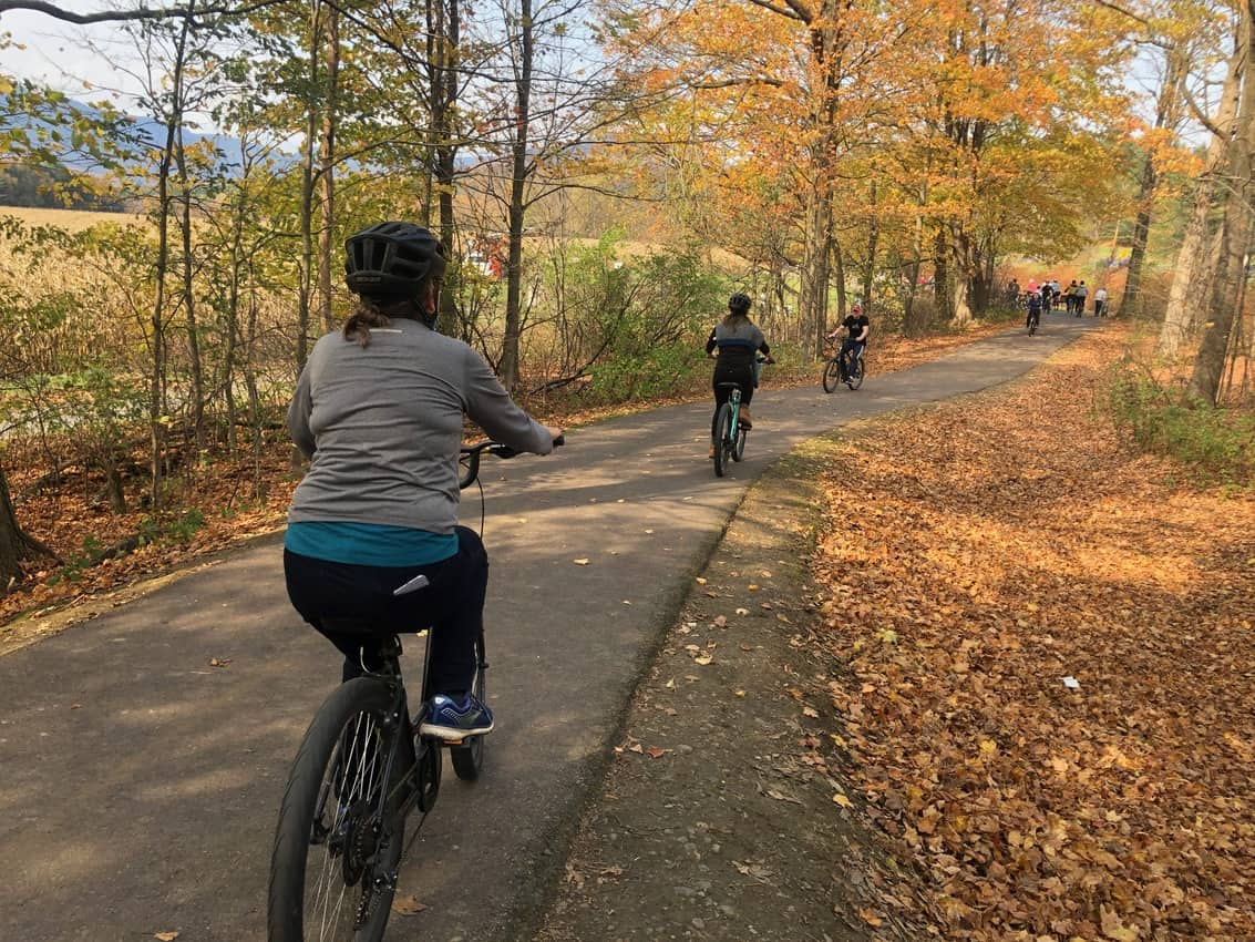 Stowe's Recreation Path winds for five miles beside the river, a word-class bike trail!