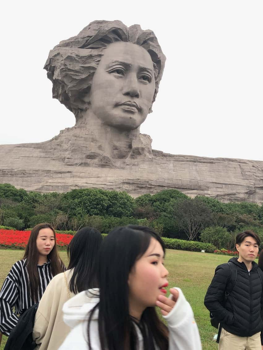 The Young Chairman Mao on Orange Island, Hunan Province. It's the Mount Rushmore of China.