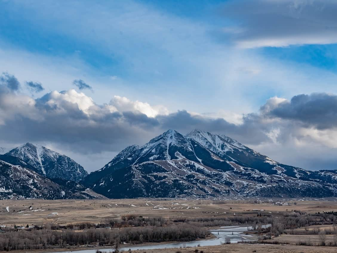The drive through Paradise Valley yields continuous views of the Yellowstone River flanked by the Absaroka-Beartooth Mountains.