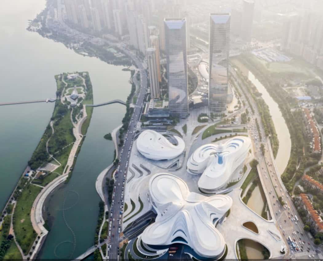 Meixihu International Culture and Arts Center, designed by Zaha Hadid Architects.