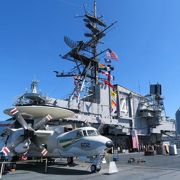 Visitors aboard the USS Midway in San Diego. The city has a huge naval base.