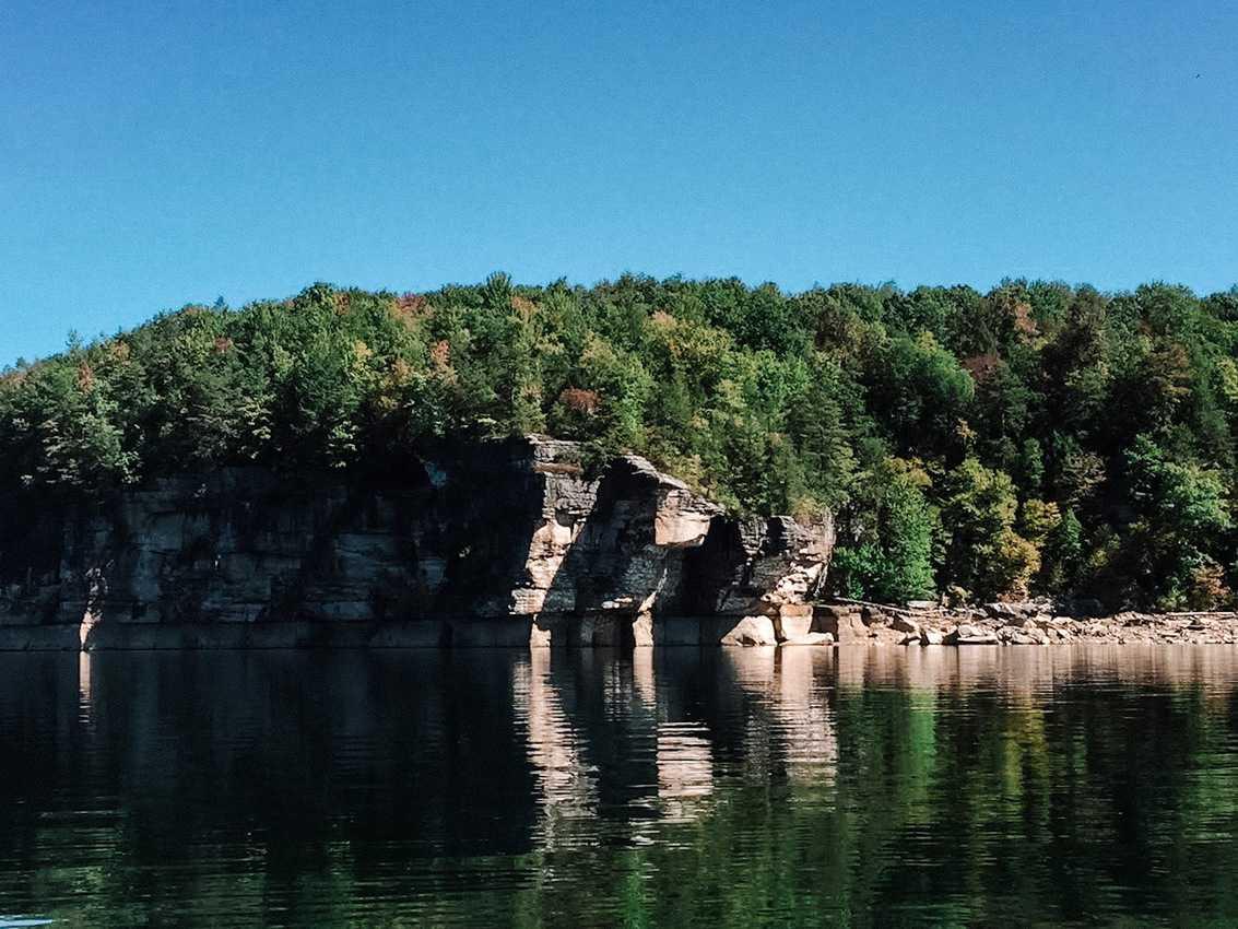 """Emerald waters, blue bird sky, sun-baked shoreline waiting to be explored."" Summersville WVA."