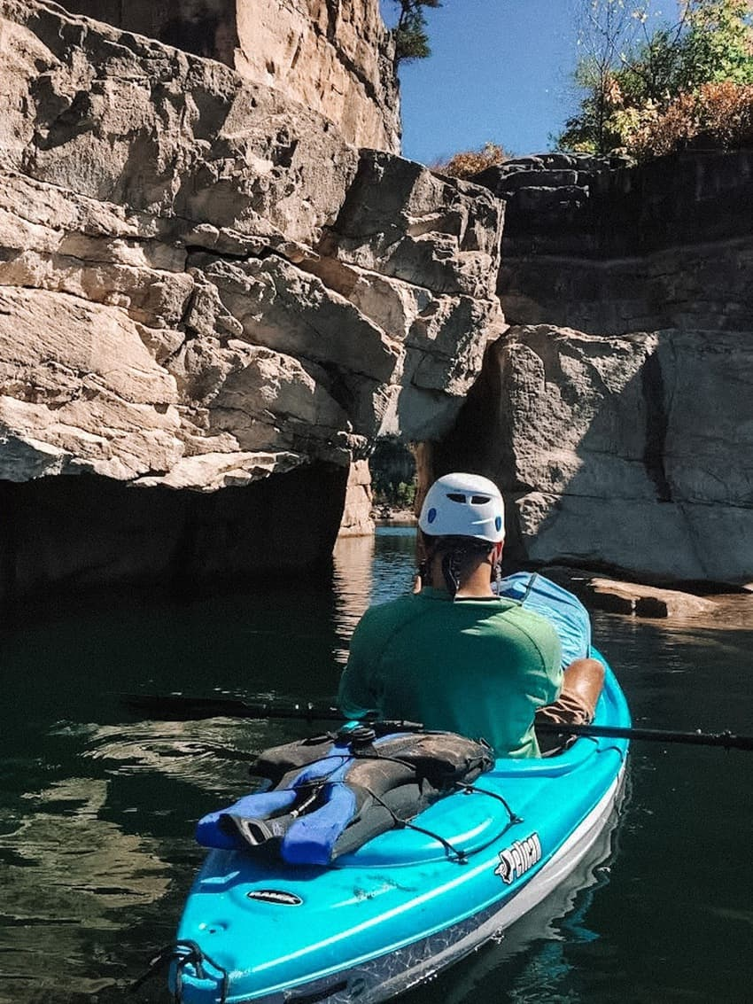 Kayaking through some tight terrain. With a lake as expansive as Summersville's, you can always find new areas to climb.