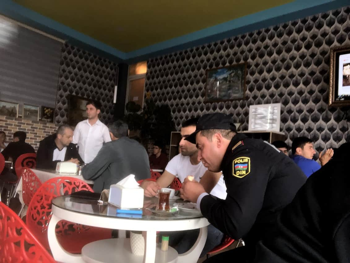 Ganjlik Restaurant busy with locals enjoying tea, Piti, Kebab, and breads.