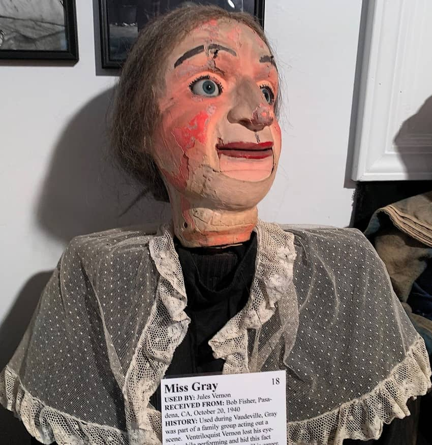 Miss Gray was one of the dummies used by blind ventriloquist Jules Vernon.