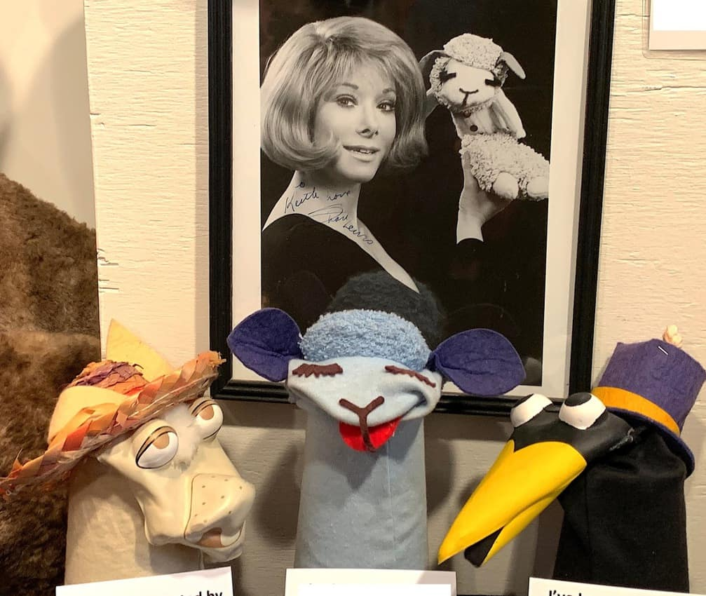 Showcased with some of her characters, Shari Lewis had her own popular TV show in the 1960s.