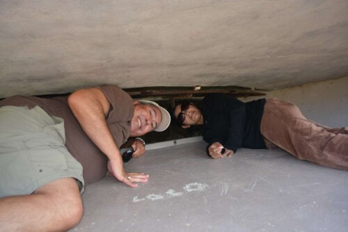 My hubby and daughter in law checking out the Ammunition Bunker at Fort Segerra