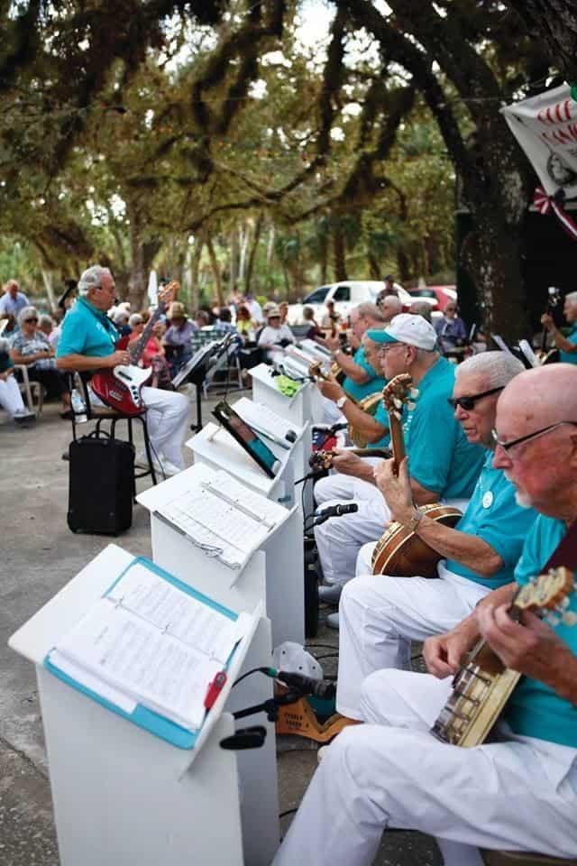 banjo picking at Snook Haven, Venice FL.
