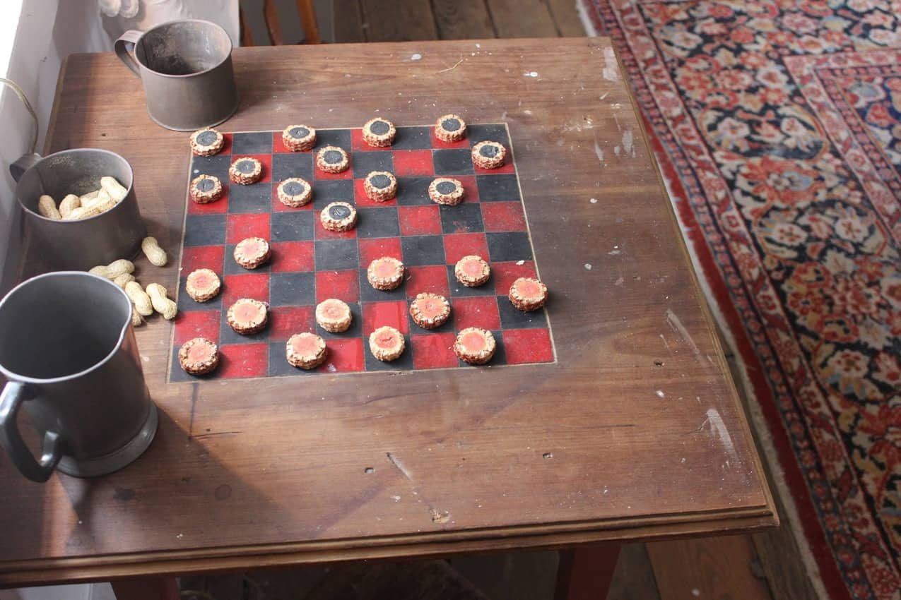 A game of checkers, anyone? (corncobs used as checker pieces) at Waveland.